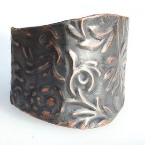 Floral Repoussé Solid Copper Wide Cuff Bracelet